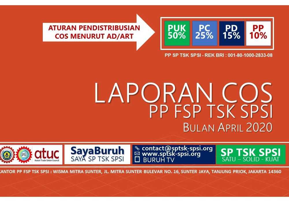 LAPORAN PENERIMAAN COS PP FSP TSK SPSI - APRIL 2020