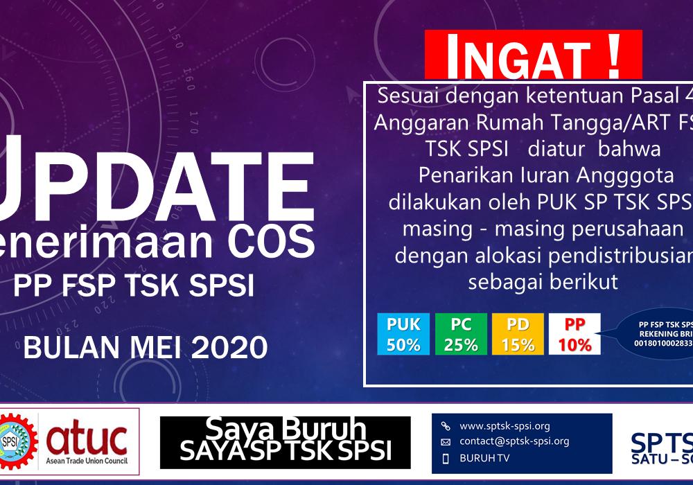 UPDATE PENERIMAAN COS PP FSP TSK SPSI - MEI 2020